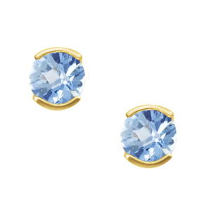 'March Birthstone'' 14KT Genuine 4mm Aquamarine Earrings; available in white or yellow gold.