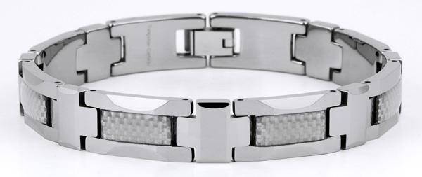 Mens 8.5'' Tungsten and Carbon Fiber Bracelet