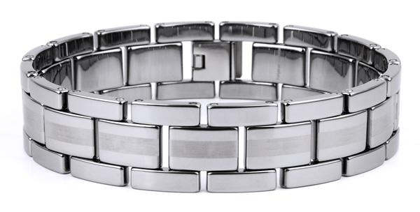 Mens 8.5'' Tungsten High Polished and Brushed Finish Bracelet