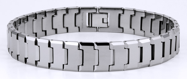 Mens 8.5'' Tungsten High Polished and Faceted Finish Bracelet