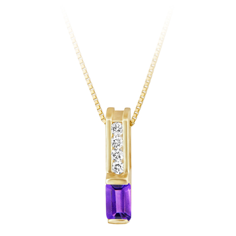 Genuine Amethyst   ''February Birthstone'' and .06cttw Diamond 10kt yellow gold pendant furnished with a 18'' 10kt box chain