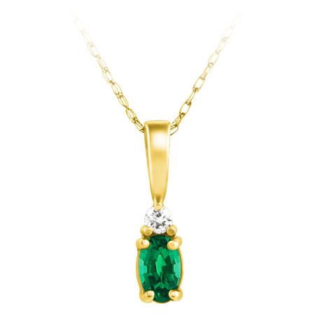 Lab Created Emerald ''May Birthstone'' and .03ct Diamond Pendant set in 14kt yellow gold furnished with 18 inch 14kt rope chain