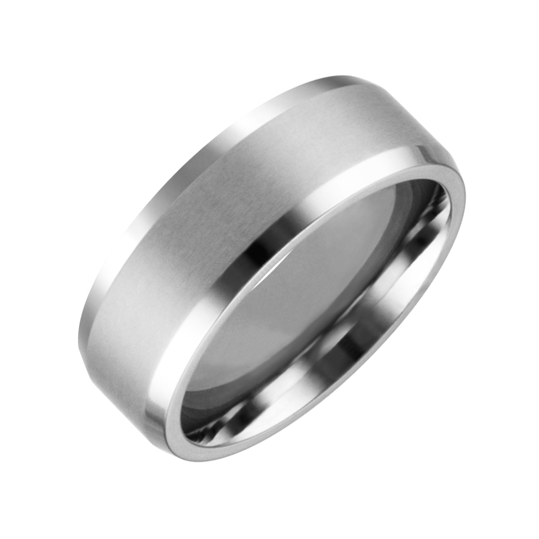 Mens & Ladies ''Cobalt White'' 8mm Chrome Brushed Finished with High Polished Beveled Edge; Comfort Fitting Band.  Available in full or half sizes 6.5-15.