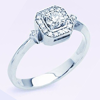 Diamond Fashion Ring .47cttw Diamond Total Weight.  1/3ct Round Brilliant Cen...