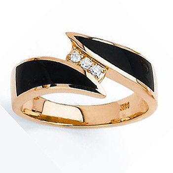 14kt Onyx & Diamond Ring .05cttw.  Also available with opal.