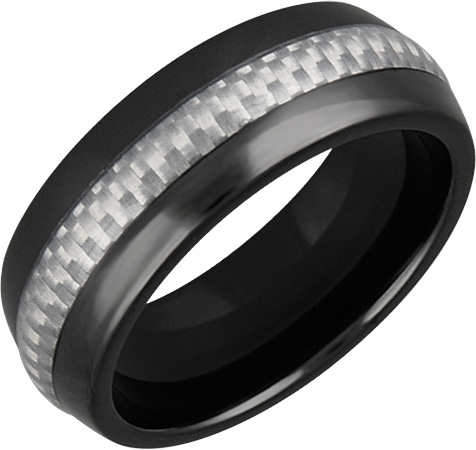 Mens and Ladies Black Ceramic Bands; 9mm Comfort Fit; Carbon Fiber Inlay; Available in Full or Half Sizes 6.5-15
