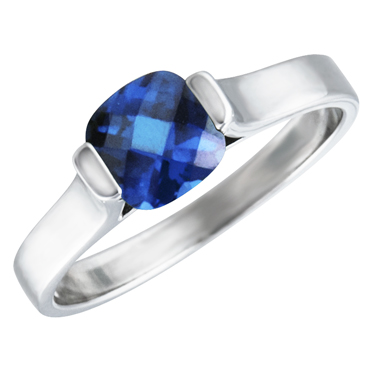 Sterling Silver Ring with created 6x6 cushion checkerboard cut  blue sapphire ''September Birthstone''
