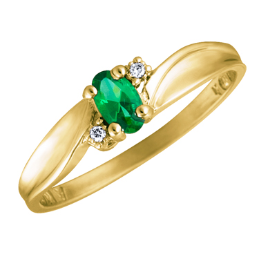Created Emerald 5x3 oval (May birthstone) set in 10kt yellow gold ring with 2...