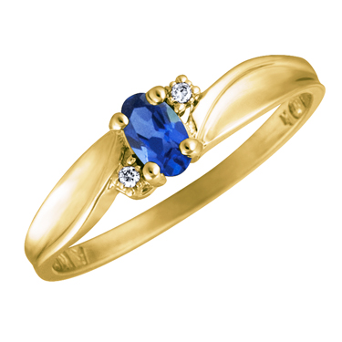 Created Blue Sapphire 5x3 oval (September birthstone) set in 10kt yellow gold...