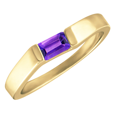 Genuine Amethyst  ''February Birthstone''  5x3 Rectangle Cut Baguette Ring 10KT yellow gold