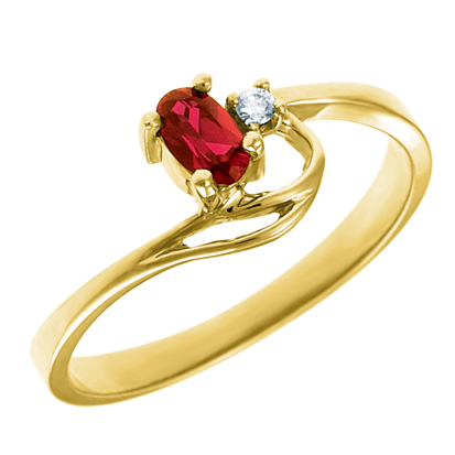 Genuine Garnet 5x3 oval (January birthstone) set in 10kt yellow gold ring wit...