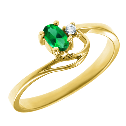 Created Emerald 5x3 oval ( May birthstone) set in 10kt yellow gold ring with ...