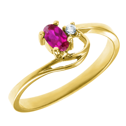Created Ruby 5x3 oval (July birthstone) set in 10kt yellow gold ring with .02...