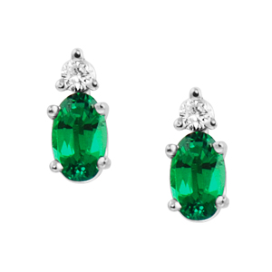 Lab Created Emerald ''May Birthstone'' and .04cttw Diamond Earrings set in 14kt yellow gold