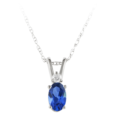Lab Created Blue Sapphire ''September Birthstone'' and Diamon...