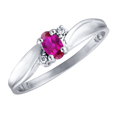 Created Ruby 5x3 oval (July birthstone) set in 10kt white gold ring with 2 ac...