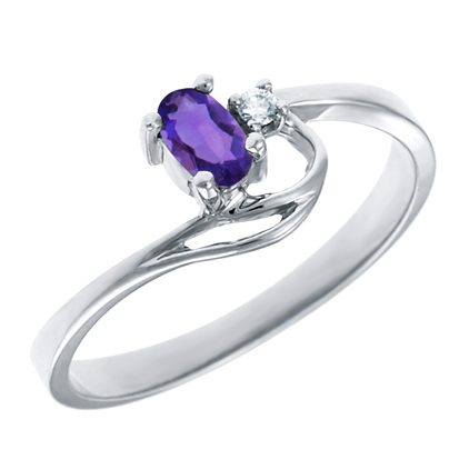 Genuine Amethyst 5x3 oval (February birthstone) set in 10kt white gold ring  ...