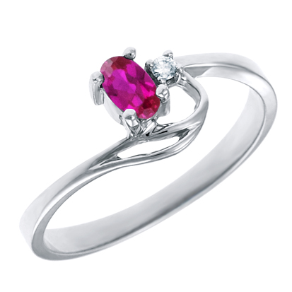 Created Ruby 5x3 oval (July birthstone) set in 10kt white gold ring with .02c...