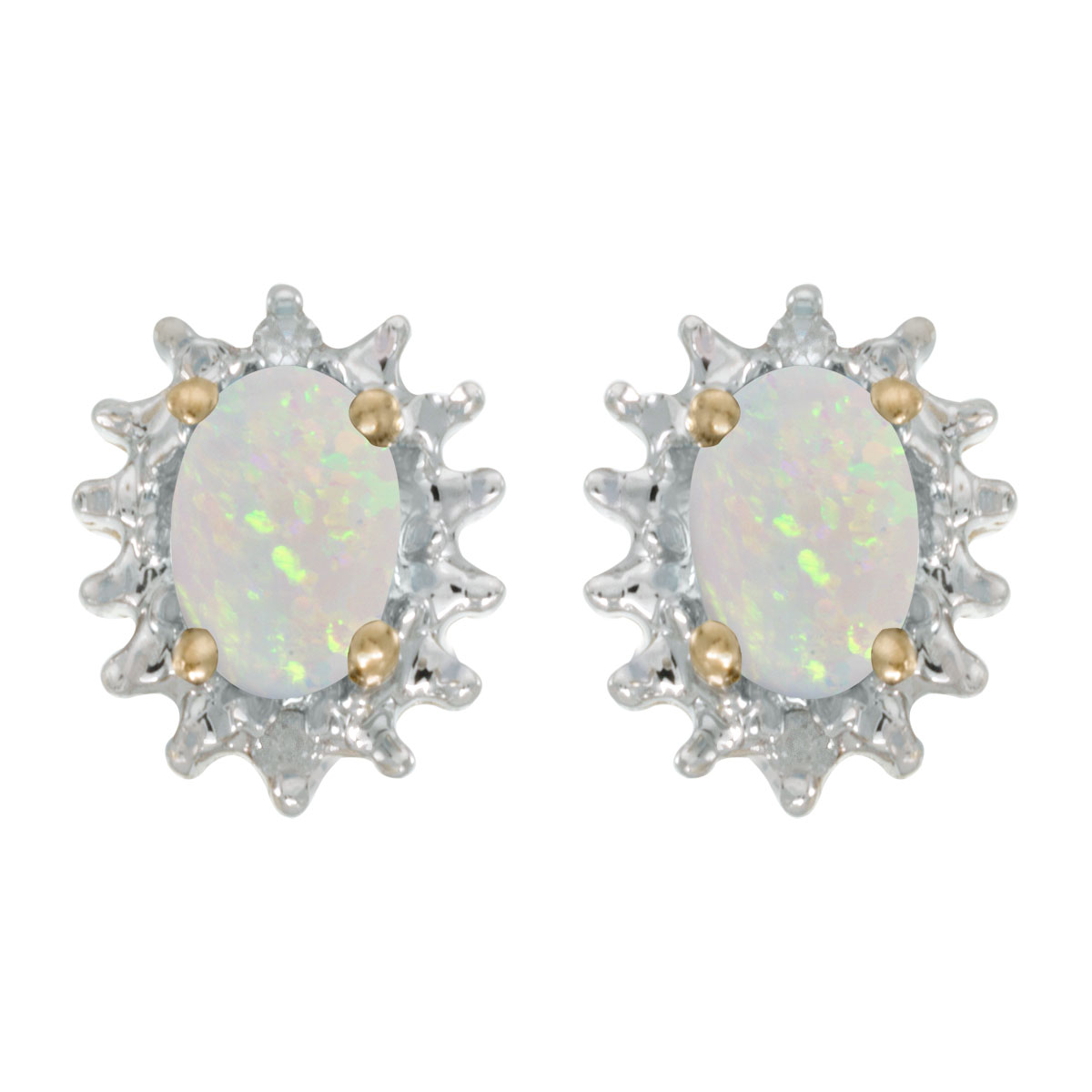 These 14k yellow gold oval opal and diamond earrings feature 6x4 mm genuine natural opals with a 0.38 ct total weight and .04 ct diamonds.