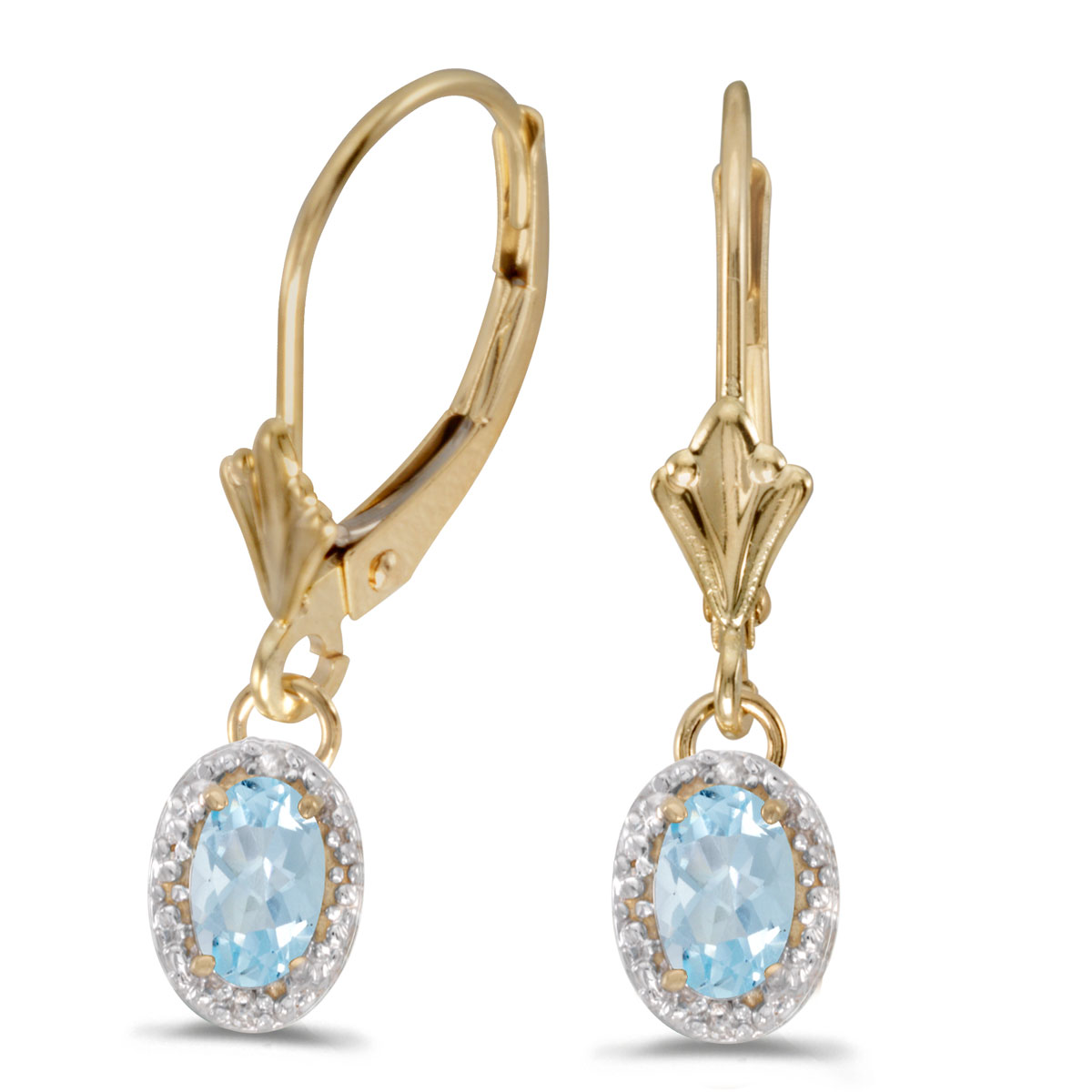 Beautiful 10k yellow gold leverback earrings with stunning 6x4 mm aquamarines complemented with bright diamonds.