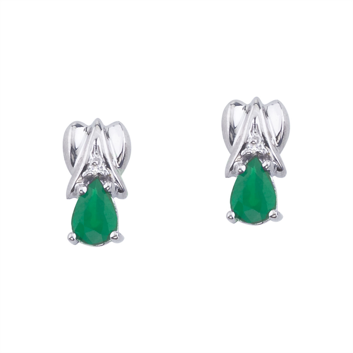 14k White Gold Pear-Shaped Emerald and Diamond Stud Earrings