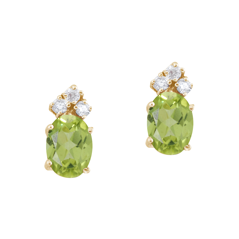 These 7x5 mm oval shaped peridot earrings are set in beautiful 14k yellow gold and feature .12 total carat diamonds.