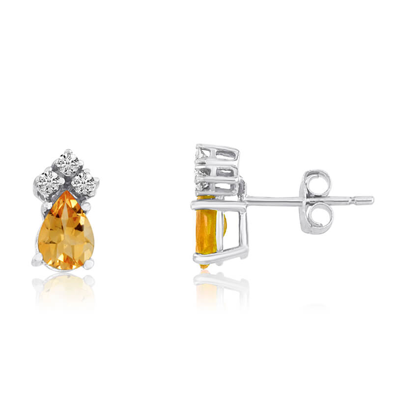 14k White Gold Citrine Pear Earrings with Diamonds