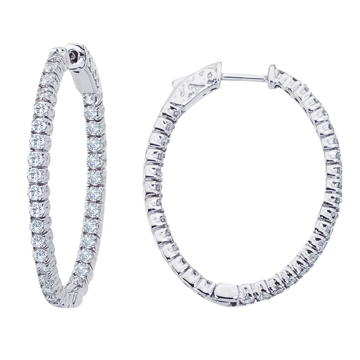 These 30x35 mm patented secure lock inside-outside diamond hoop earrings feature 1.98 carats of stunning diamonds.