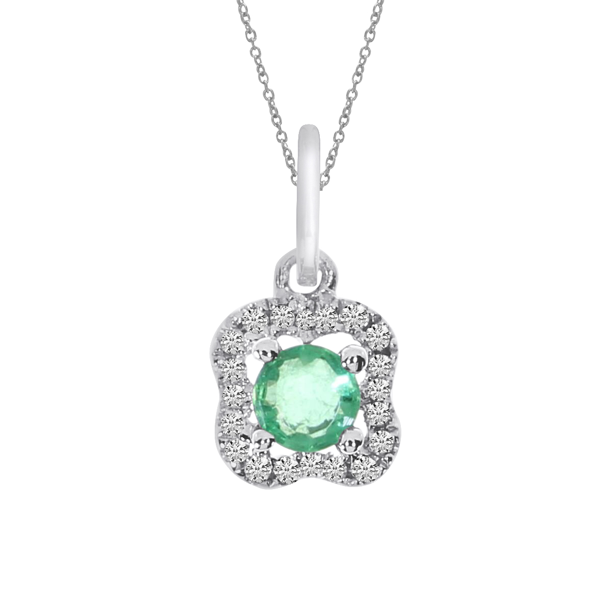 A charming pendant in 14k white gold with a beautiful 3.5 mm round emerald and .05 ct diamonds.