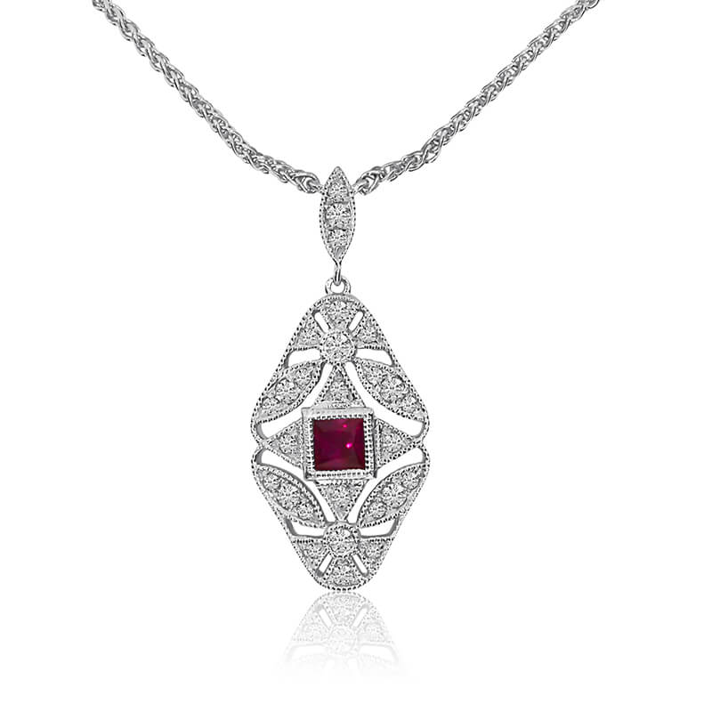 Gold Filigree Princess Cut Ruby and Diamond Necklace with 18'' Chain