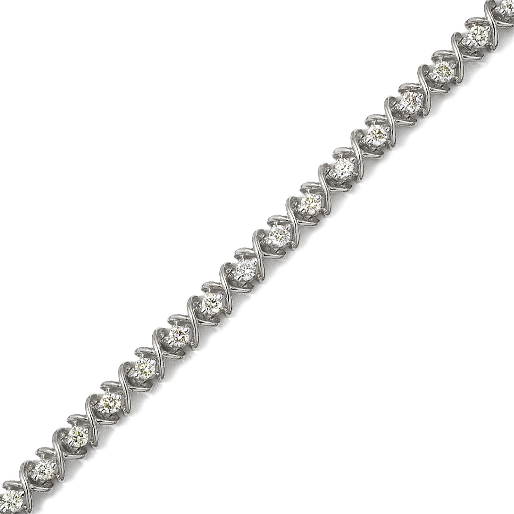 14K Solid White Gold ''X&O'' Round Diamond Bracelet with 3.00ctw of Natural Round Diamonds