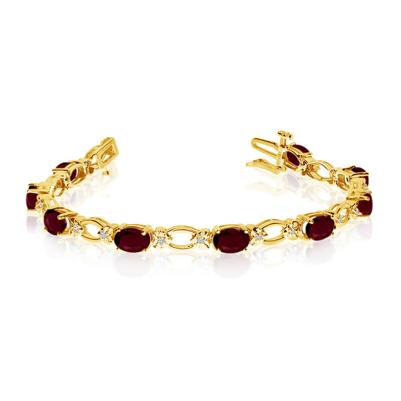 This 14k yellow gold natural garnet and diamond tennis bracelet features 12 oval garnets with a total gem weight of 5.64 carats and a total diamond weight of 0.12 carats.