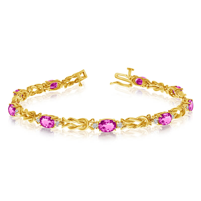 This 14k yellow gold natural pink-topaz and diamond tennis bracelet features 9 oval pink-topazs with a total gem weight of 3.87 carats and a total diamond weight of 0.5 carats.
