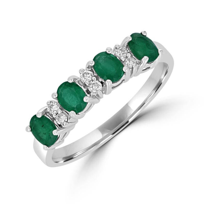 OVAL EMERALD & ROUND DIAMOND BAND RING