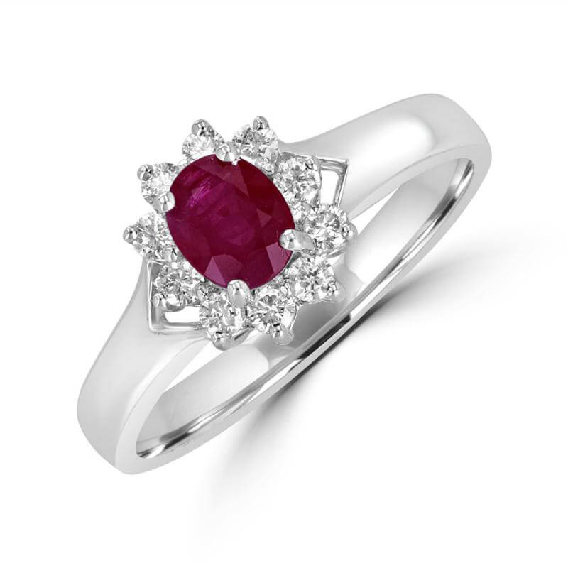 4X5 OVAL RUBY SURROUNDED BY DIAMONDS RING
