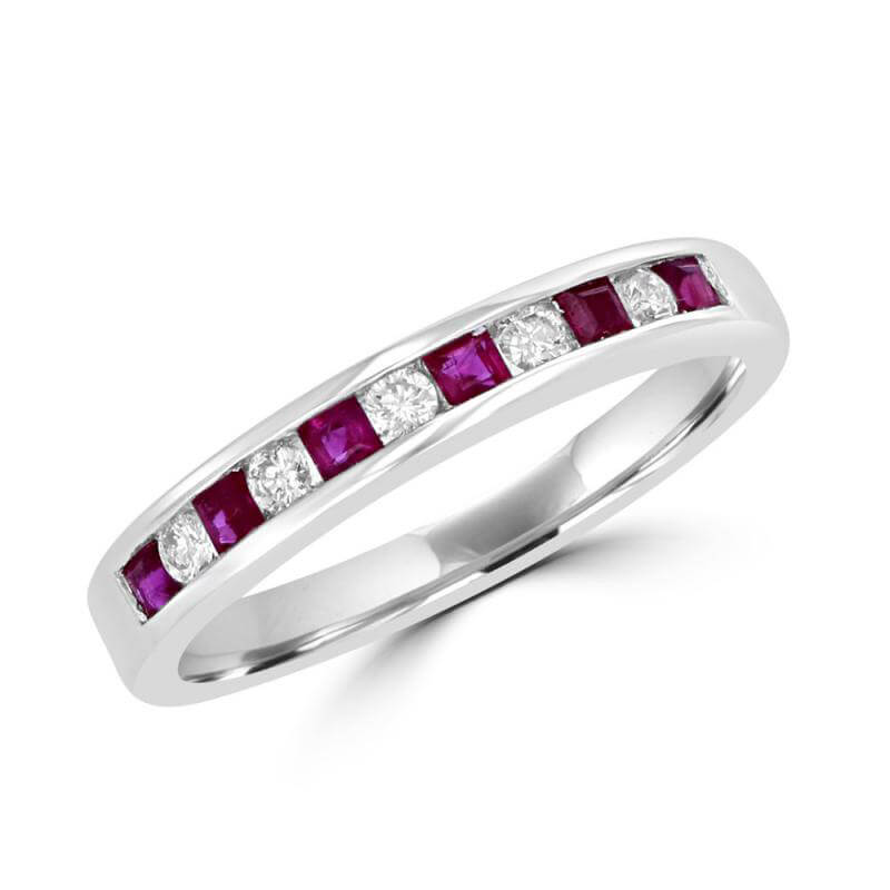 SQUARE RUBY AND ROUND DIAMOND CHANNEL BAND RING