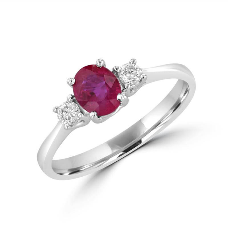 OVAL RUBY & ROUND DIAMOND EACH SIDE RING
