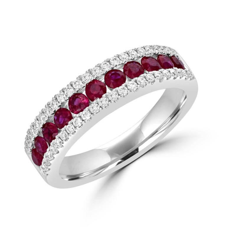 ROUND RUBY & ROUND DIAMOND BAND RING