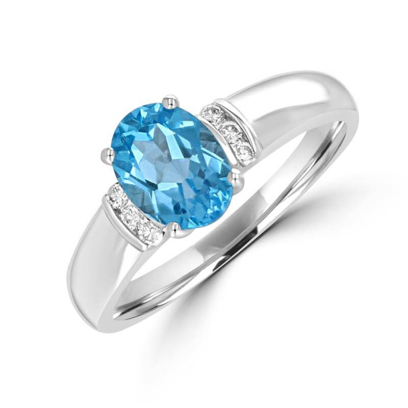 6X8 OVAL BLUE TOPAZ & 6 CHANNEL DIAMOND RING