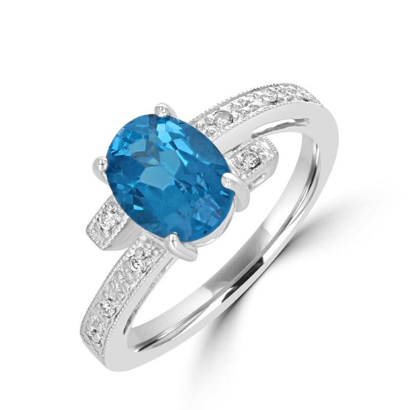 7X9 OVAL BLUE TOPAZ AND ROUND DIAMONDS RING