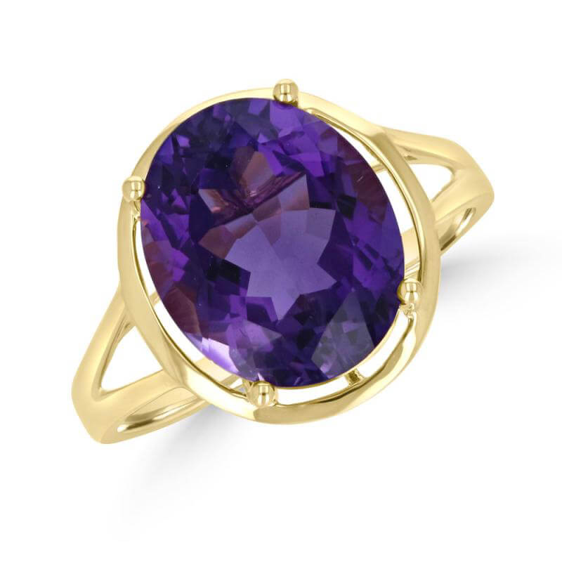 10X12 OVAL AMETHYST PLAIN TRIM RING