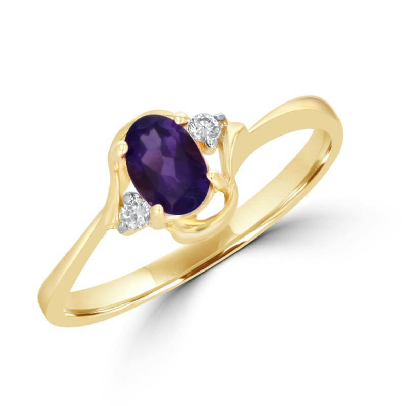 4X6 OVAL AMETHYST AND ONE DIAMOND EACH SIDE RING