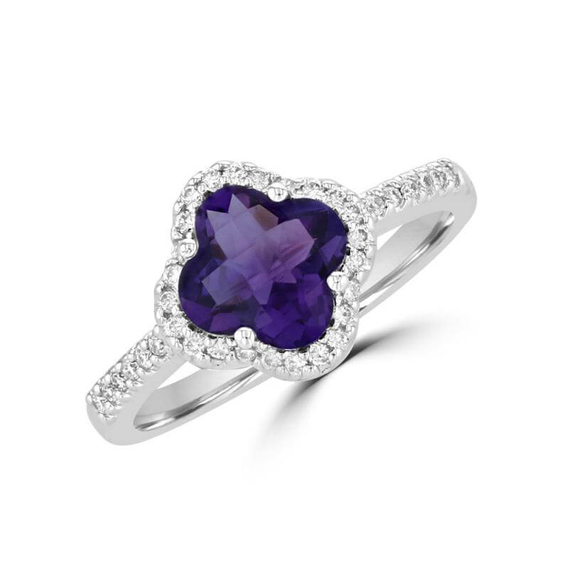 8MM LILY AMETHYST SURROUNDED BY DIAMOND RING