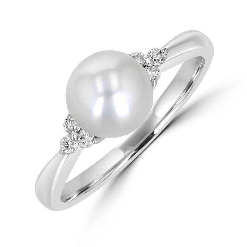 7.3-7.5MM FRESHWATER PEARL & 3 DIAMOND ON EACH SIDE RING