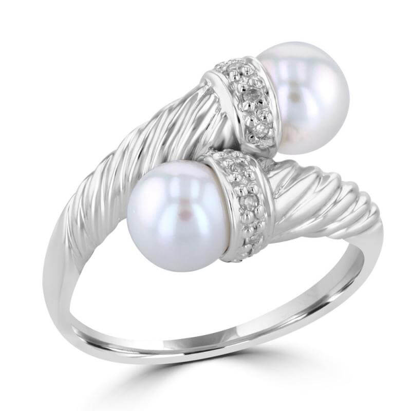 6.5-7MM TWO CULTURED PEARL AND DIAMONDS CONE RING