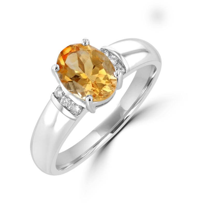 6X8 OVAL CITRINE CHANNEL DIAMOND RING