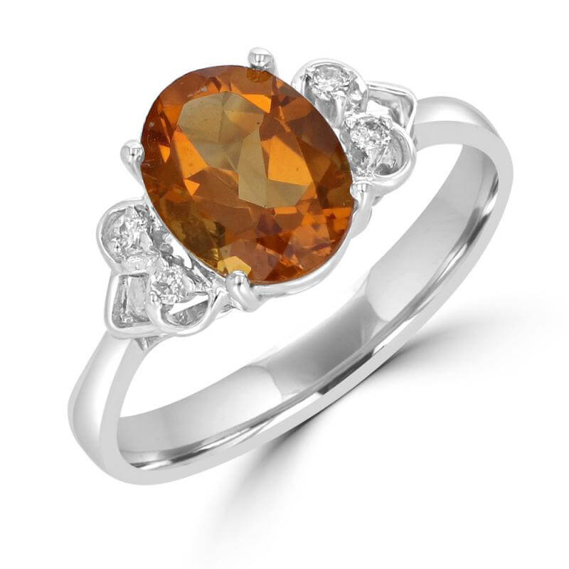 7X9 OVAL CITRINE AND TWO DIAMONDS ON EACH SIDE RING