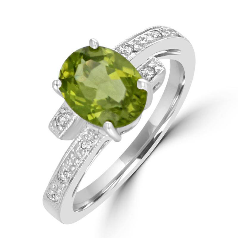 7X9 OVAL PERIDOT AND ROUND DIAMONDS RING