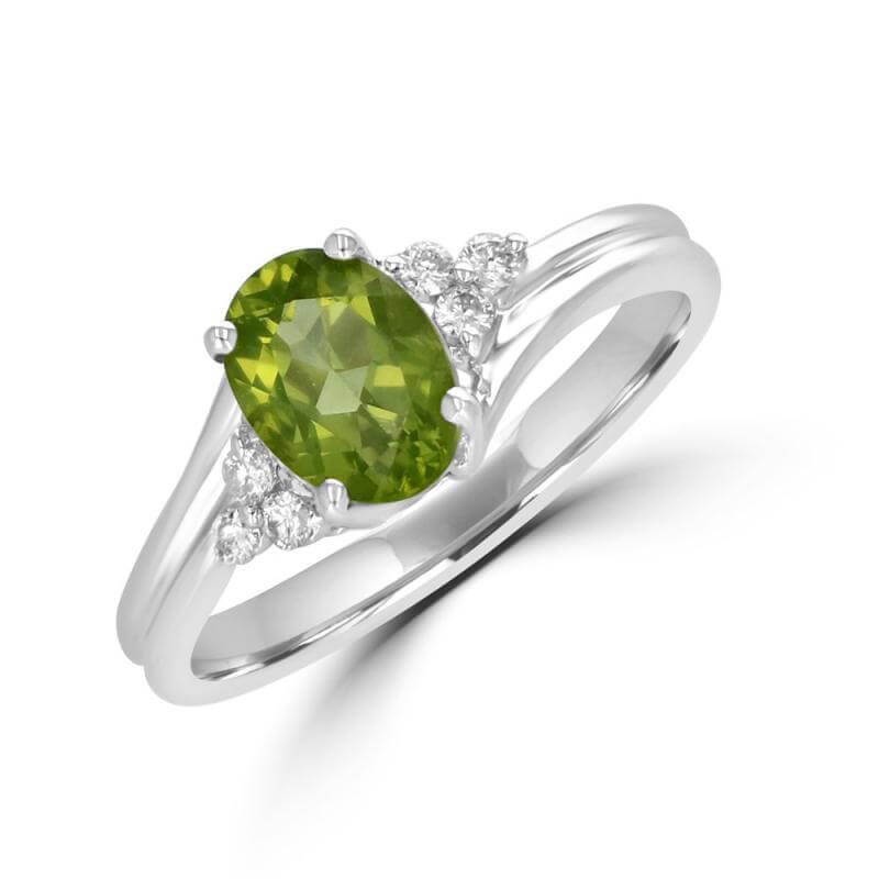 6X8 OVAL PERIDOT AND THREE ROUND DIAMONDS ON SIDE RING