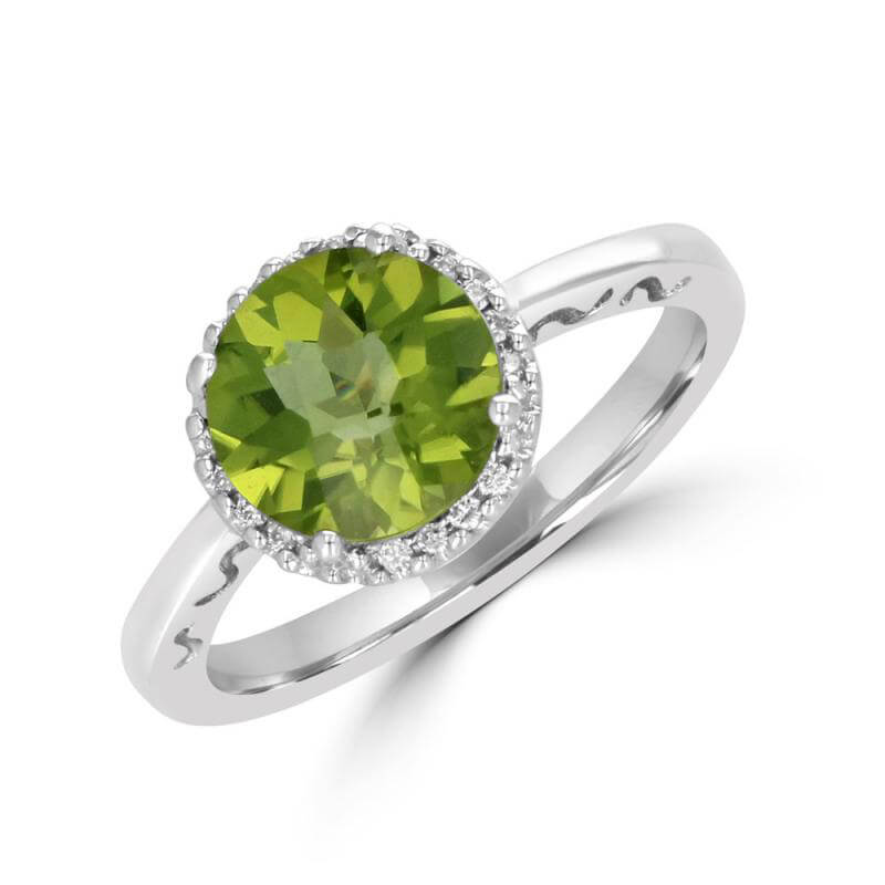 8.5MM ROUND PERIDOT SURROUNDED BY DIAMOND RING
